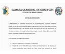 Presidente da CMG convoca parlamentares para a 1ª Reunião Extraordinária de 2021